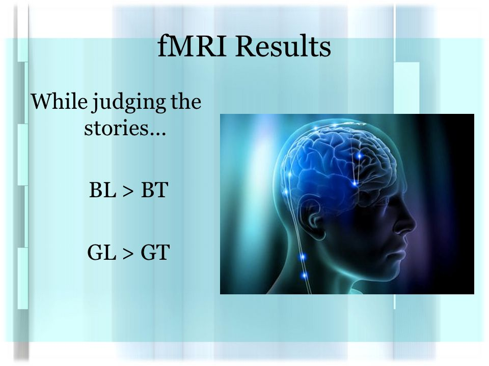 fMRI Results While judging the stories… BL > BT GL > GT