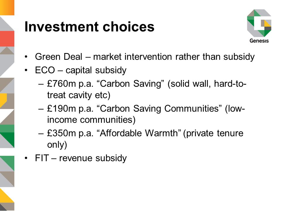 Finance options OptionComment Green Deal Off-balance sheet .