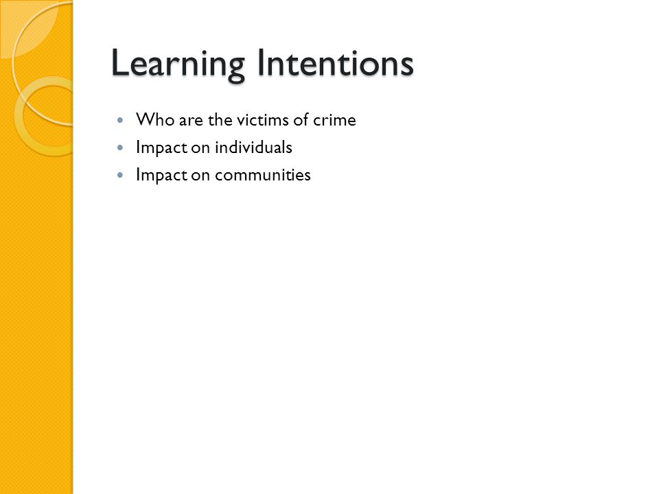 Learning Intentions Who are the victims of crime Impact on individuals Impact on communities