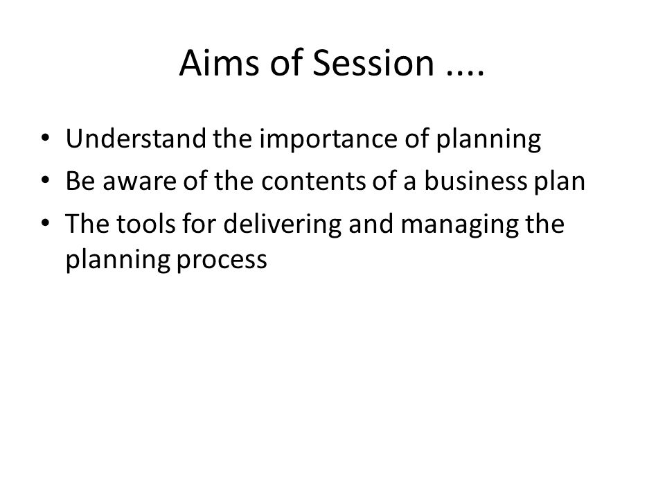 Aims of Session....