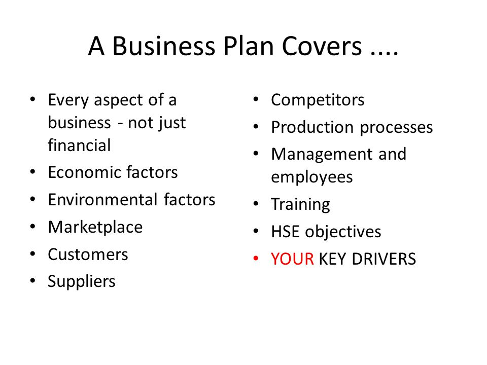 A Business Plan Covers....