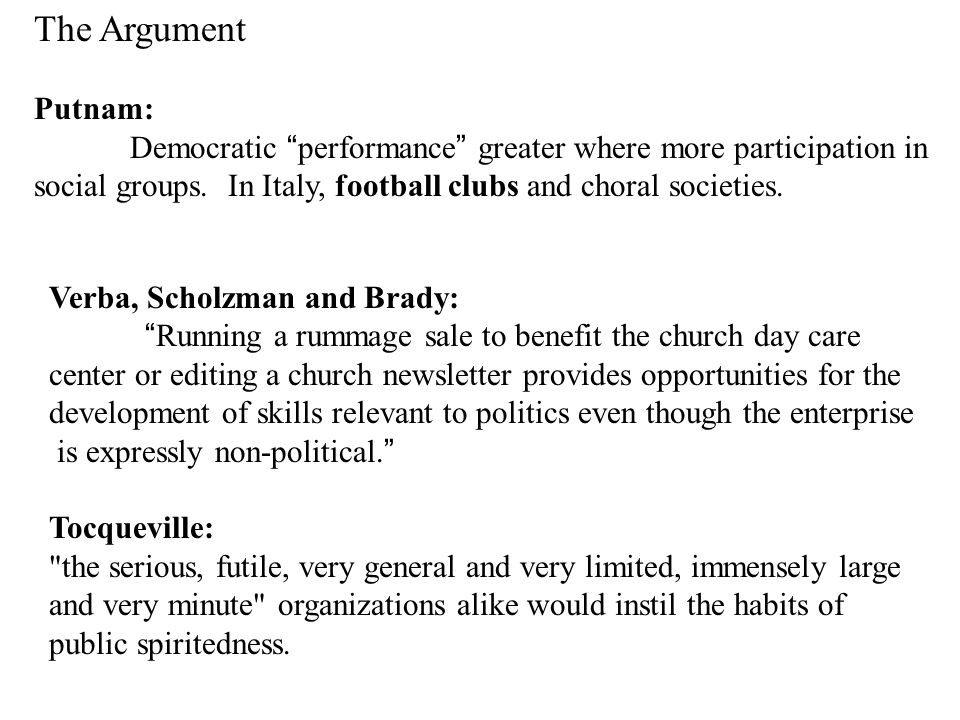 The Argument Putnam: Democratic performance greater where more participation in social groups.