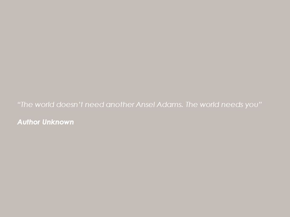 The world doesn't need another Ansel Adams. The world needs you Author Unknown