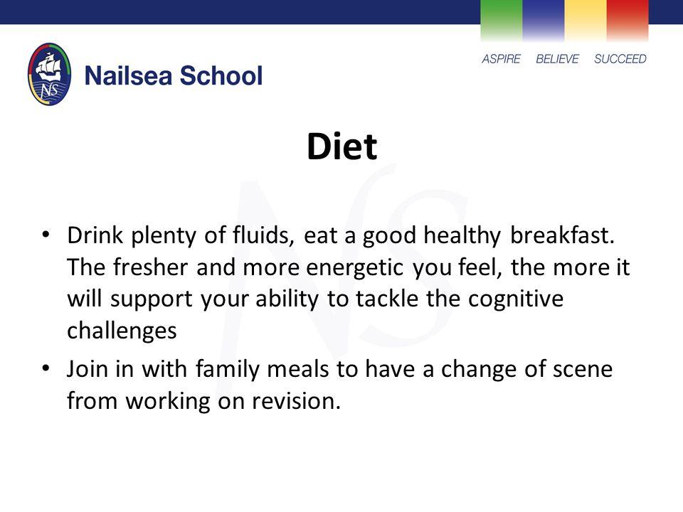 Diet Drink plenty of fluids, eat a good healthy breakfast.