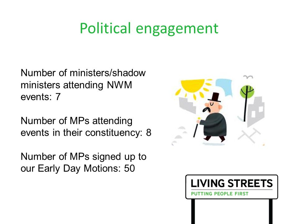 Political engagement Number of ministers/shadow ministers attending NWM events: 7 Number of MPs attending events in their constituency: 8 Number of MPs signed up to our Early Day Motions: 50