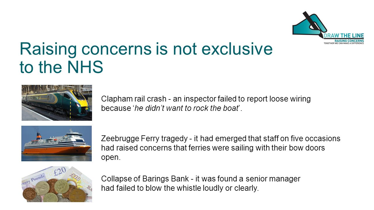 Raising concerns is not exclusive to the NHS Clapham rail crash - an inspector failed to report loose wiring because 'he didn't want to rock the boat'.