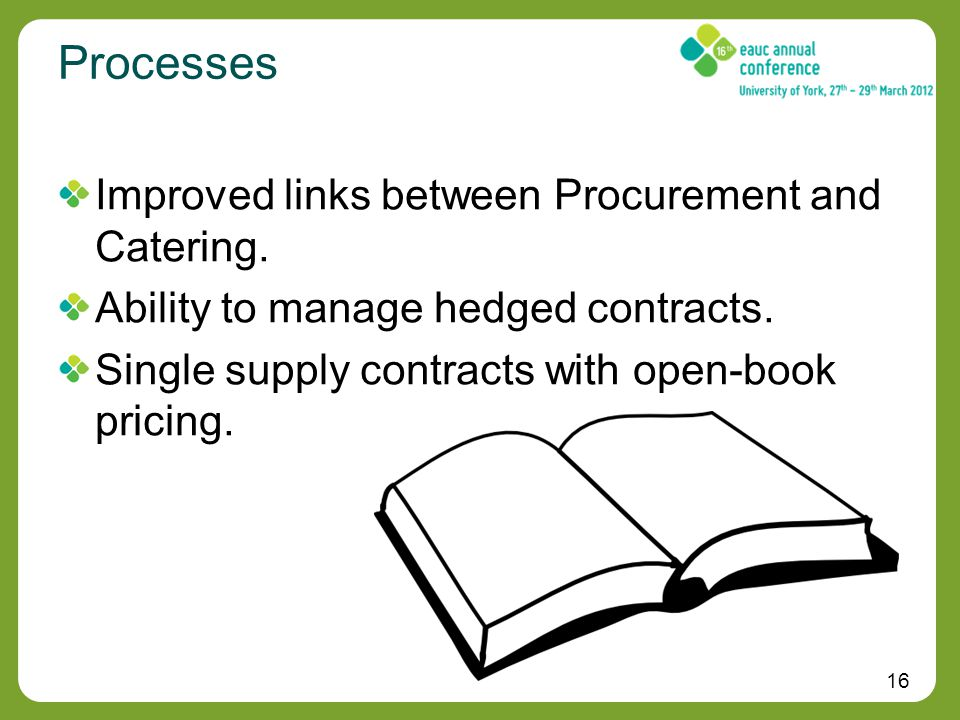 16 Processes Improved links between Procurement and Catering.