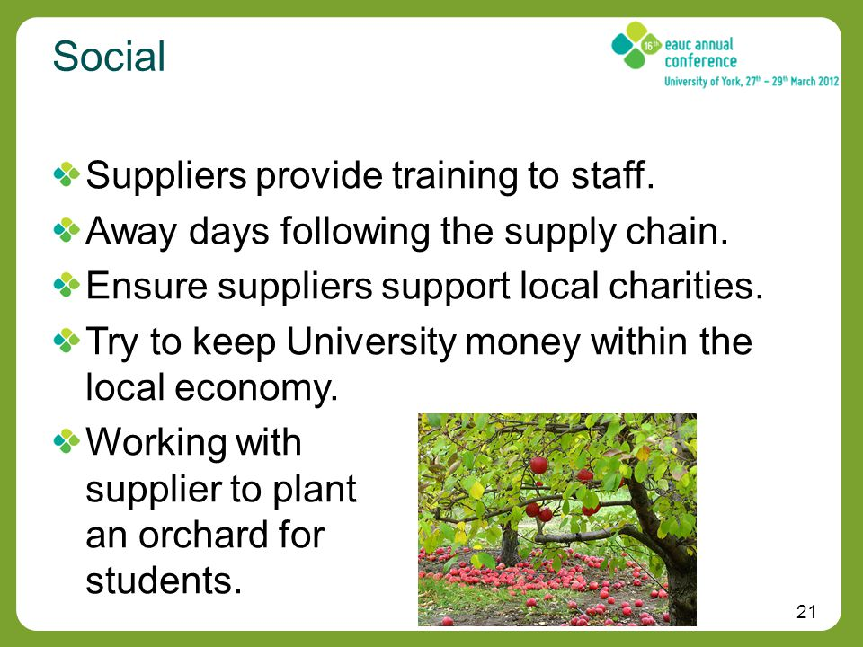 21 Social Suppliers provide training to staff. Away days following the supply chain.