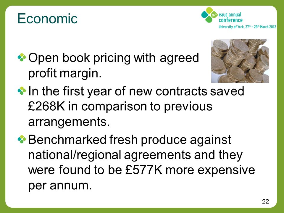 22 Economic Open book pricing with agreed profit margin.