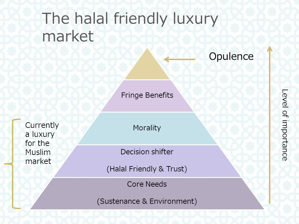 Fringe Benefits Morality Decision shifter (Halal Friendly & Trust) Core Needs (Sustenance & Environment) Opulence The halal friendly luxury market Currently a luxury for the Muslim market Level of importance