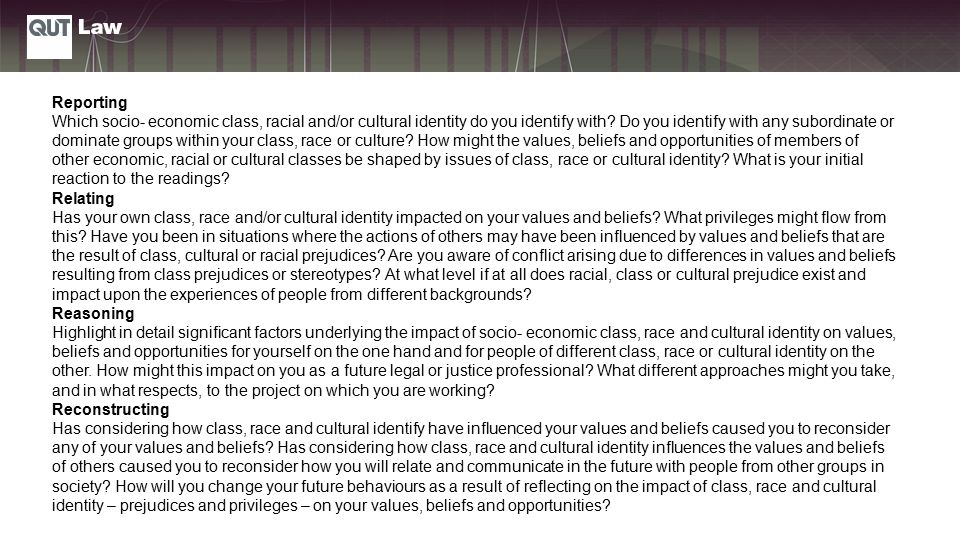 Reporting Which socio- economic class, racial and/or cultural identity do you identify with.