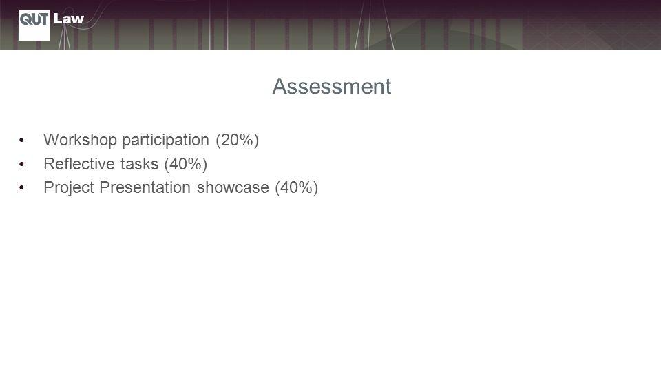 Assessment Workshop participation (20%) Reflective tasks (40%) Project Presentation showcase (40%)
