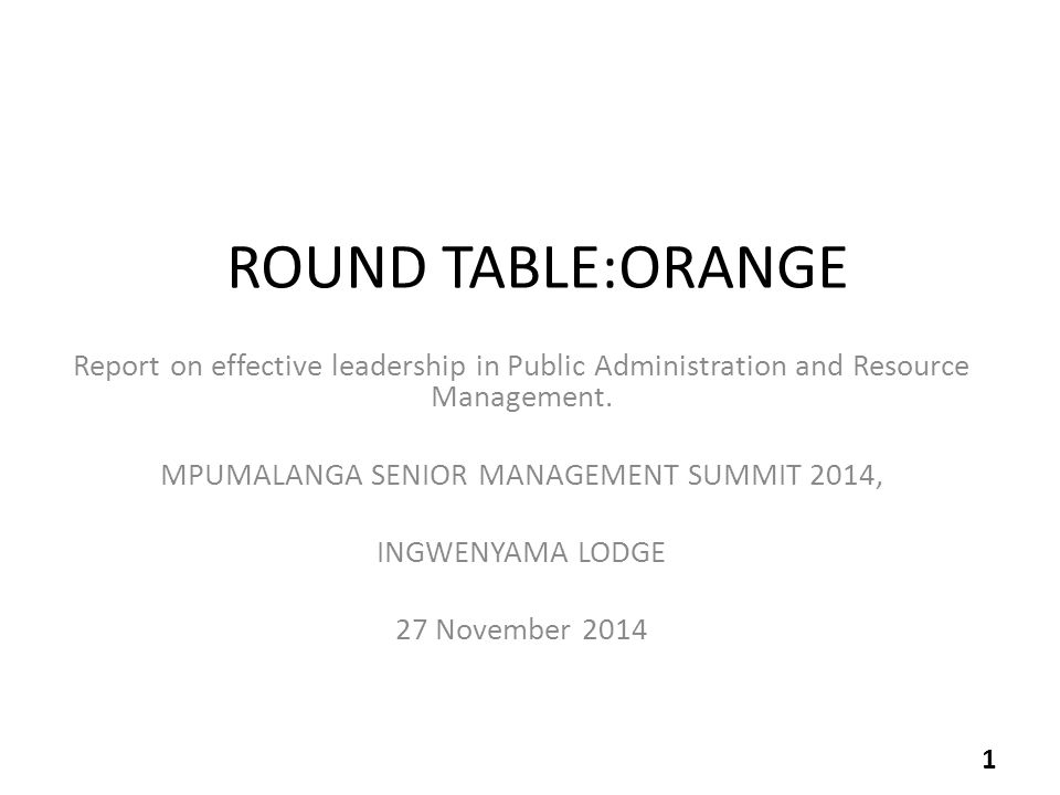 ROUND TABLE:ORANGE Report on effective leadership in Public Administration and Resource Management.