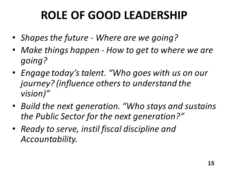 ROLE OF GOOD LEADERSHIP Shapes the future - Where are we going.