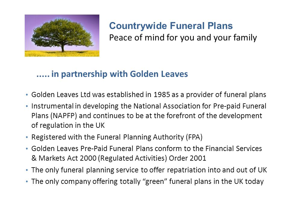 Countrywide Funeral Plans Peace of mind for you and your family.....