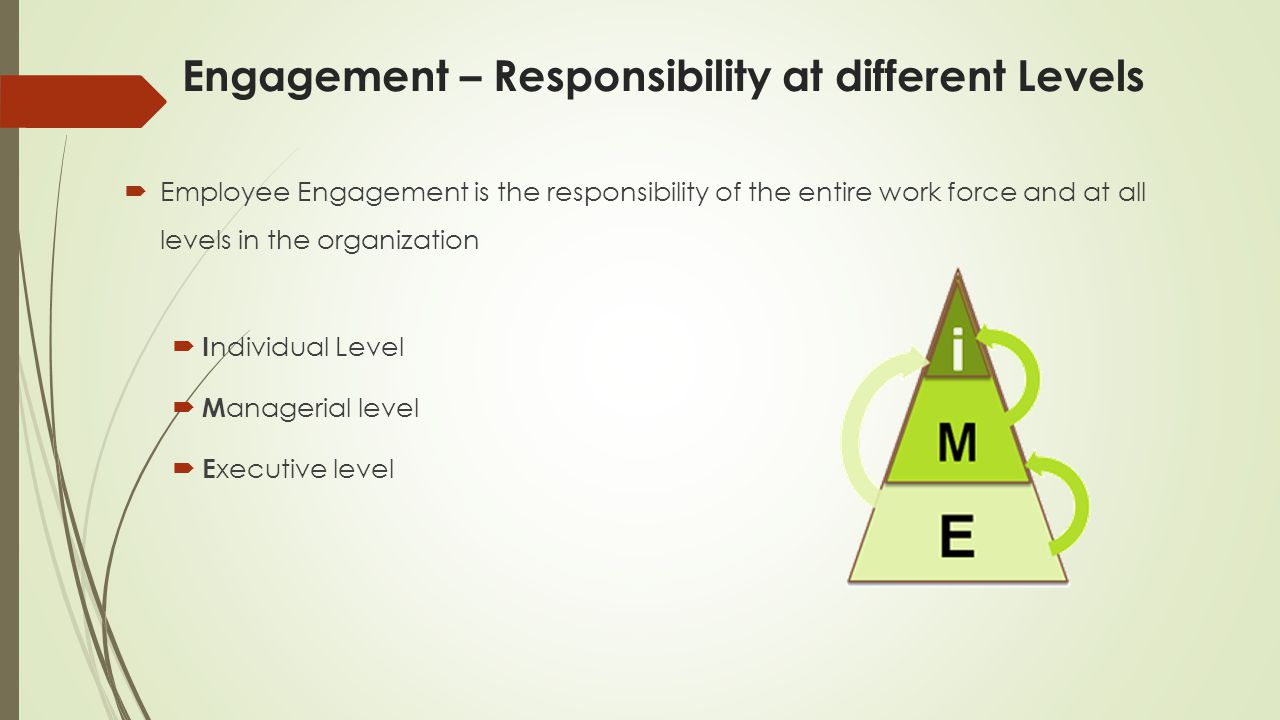 Engagement – Responsibility at different Levels  Employee Engagement is the responsibility of the entire work force and at all levels in the organization  I ndividual Level  M anagerial level  E xecutive level