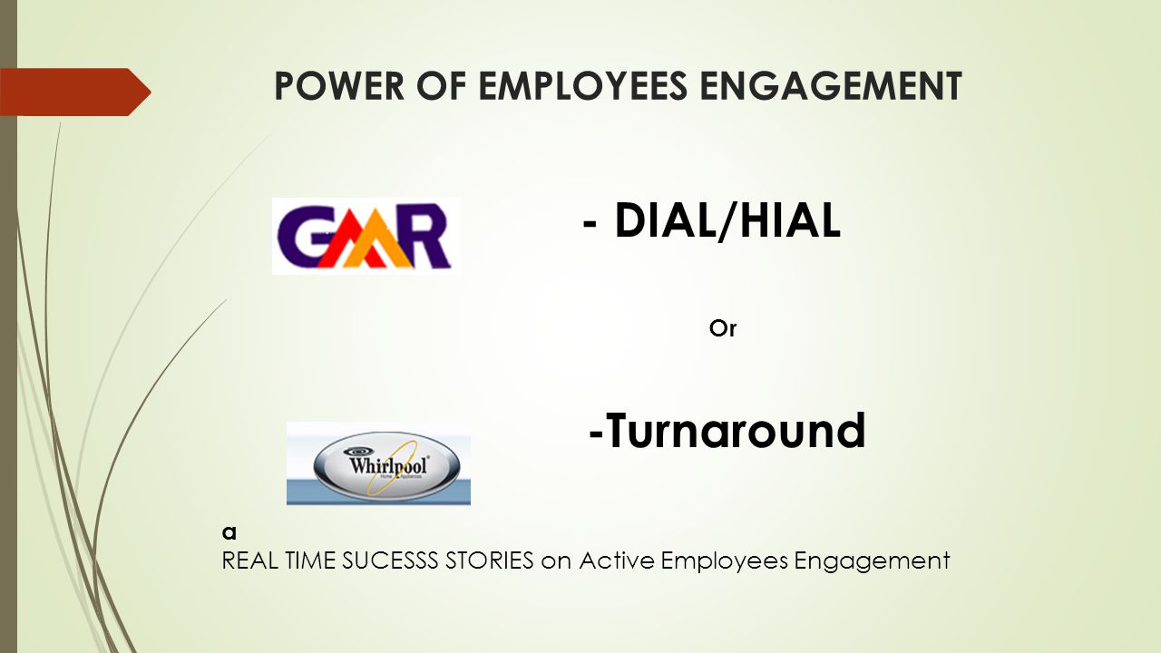 - DIAL/HIAL Or -Turnaround a REAL TIME SUCESSS STORIES on Active Employees Engagement POWER OF EMPLOYEES ENGAGEMENT