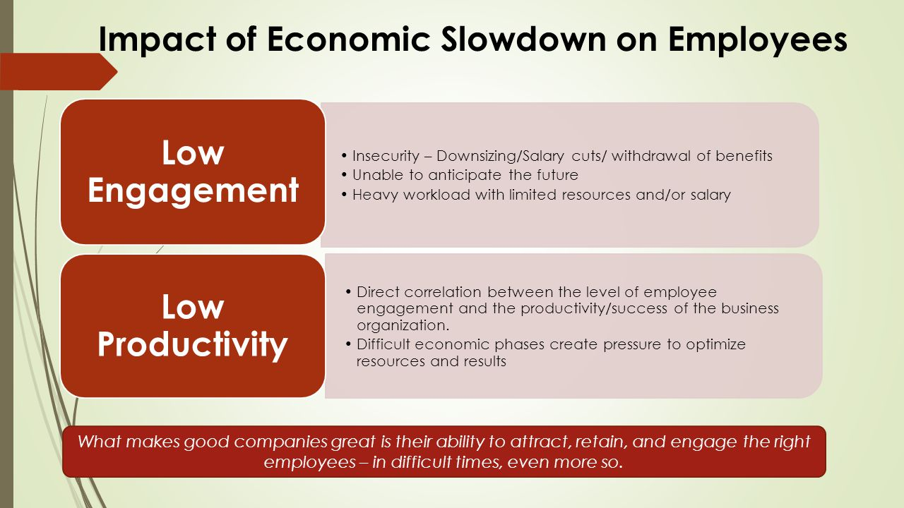Insecurity – Downsizing/Salary cuts/ withdrawal of benefits Unable to anticipate the future Heavy workload with limited resources and/or salary Low Engagement Direct correlation between the level of employee engagement and the productivity/success of the business organization.