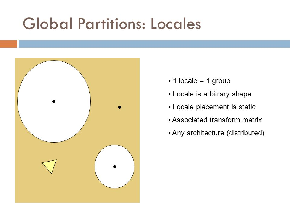 Global Partitions: Locales 1 locale = 1 group Locale is arbitrary shape Locale placement is static Associated transform matrix Any architecture (distributed)