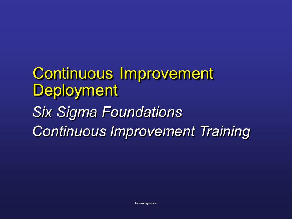 Continuous Improvement Deployment Six Sigma Foundations Continuous Improvement Training Six Sigma Foundations Continuous Improvement Training freesixsigmasite