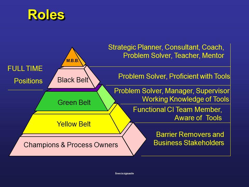 RolesRoles Champions & Process Owners Yellow Belt Green Belt Black Belt M.B.B.