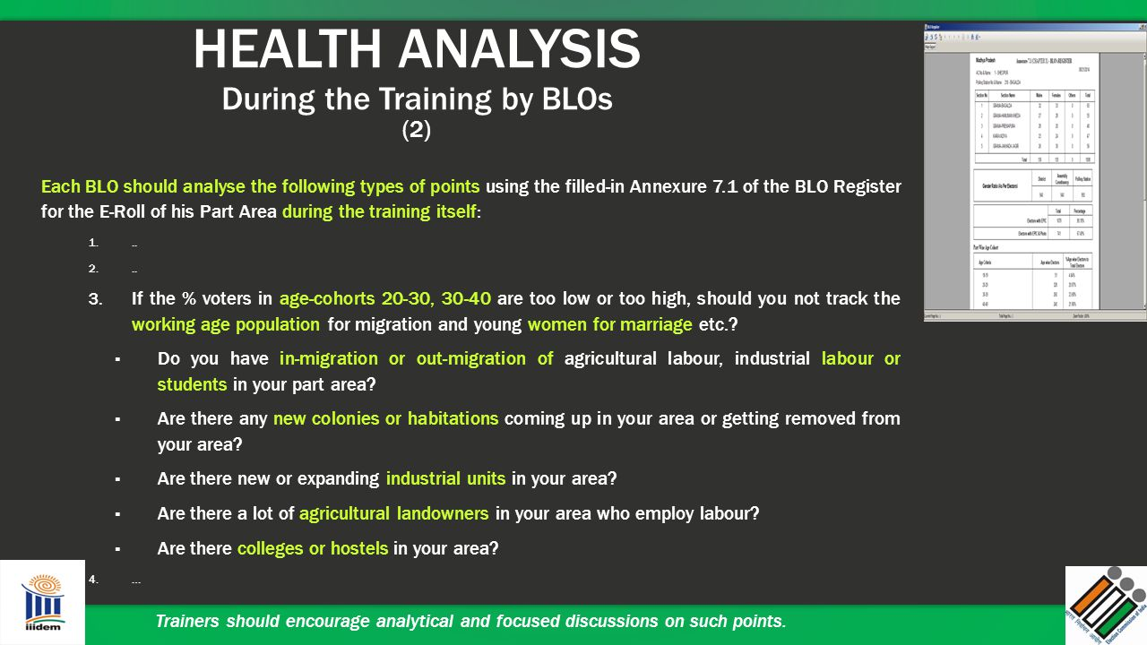 HEALTH ANALYSIS During the Training by BLOs (2) Each BLO should analyse the following types of points using the filled-in Annexure 7.1 of the BLO Regi