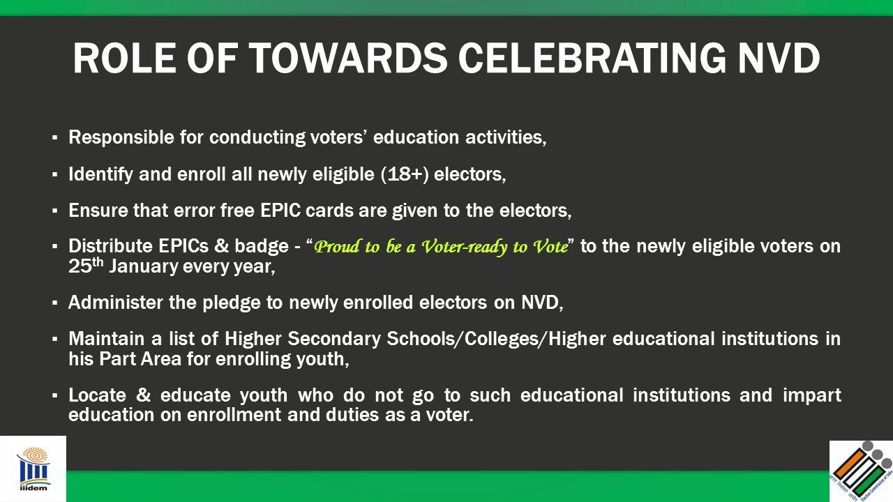 Role of BLO towards celebrating NVD Role of BLO towards celebrating NVD Role of BLO towards celebrating NVD Role of BLO towards celebrating NVD ROLE O