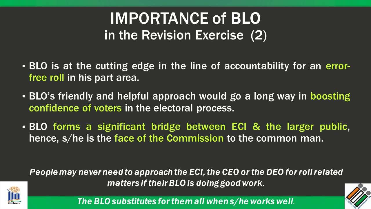 IMPORTANCE of BLO in the Revision Exercise (2) ▪ BLO is at the cutting edge in the line of accountability for an error- free roll in his part area. ▪
