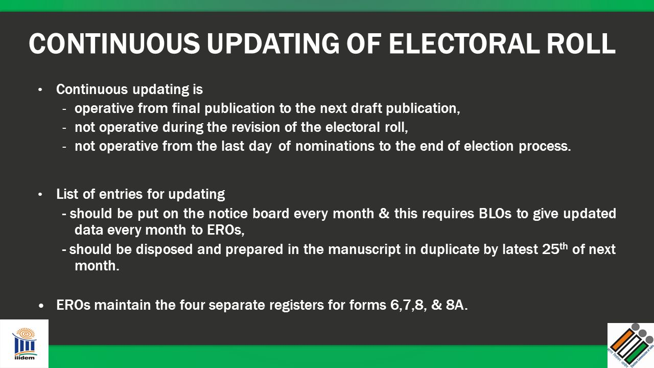 CONTINUOUS UPDATING OF ELECTORAL ROLL Continuous updating is - operative from final publication to the next draft publication, - not operative during