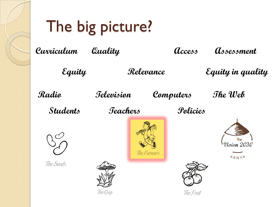 The big picture? Equity Quality Relevance Access Equity in quality RadioTelevisionComputersThe Web StudentsTeachersPolicies CurriculumAssessment