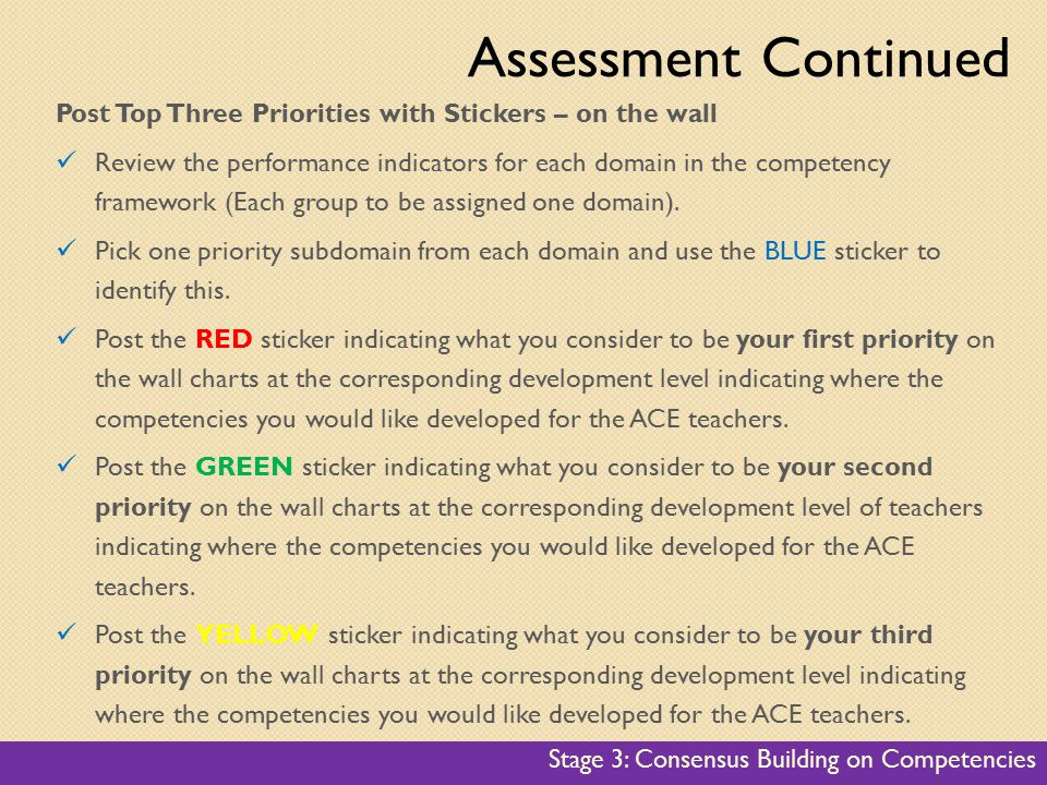 Post Top Three Priorities with Stickers – on the wall Review the performance indicators for each domain in the competency framework (Each group to be