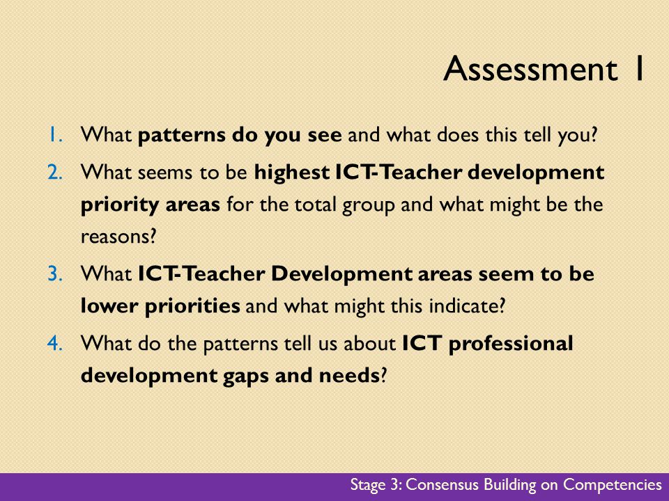 1.What patterns do you see and what does this tell you? 2.What seems to be highest ICT-Teacher development priority areas for the total group and what
