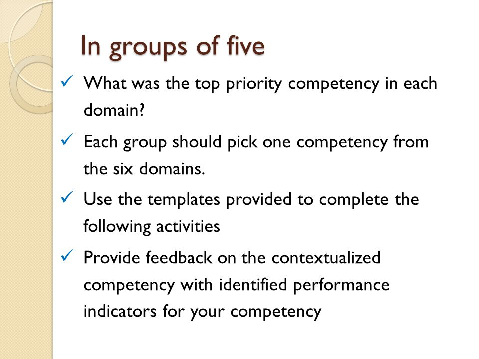 In groups of five What was the top priority competency in each domain? Each group should pick one competency from the six domains. Use the templates p