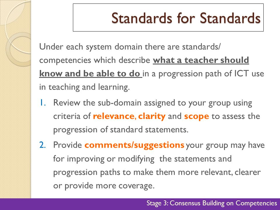 Standards for Standards 38 Under each system domain there are standards/ competencies which describe what a teacher should know and be able to do in a