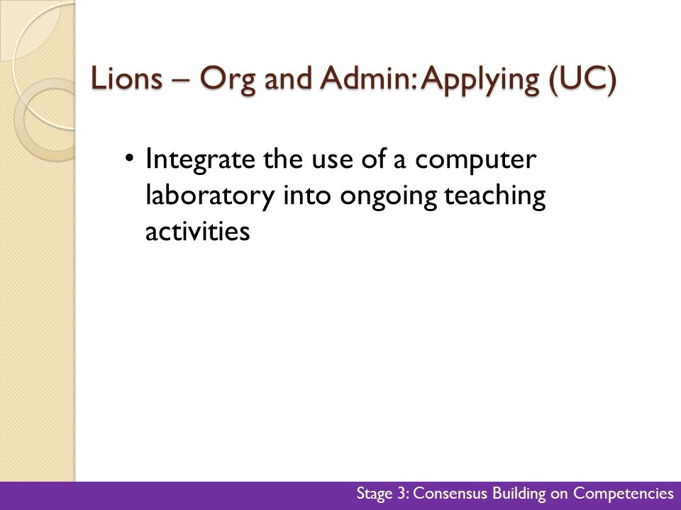 Lions – Org and Admin: Applying (UC) 45 Integrate the use of a computer laboratory into ongoing teaching activities Stage 3: Consensus Building on Com