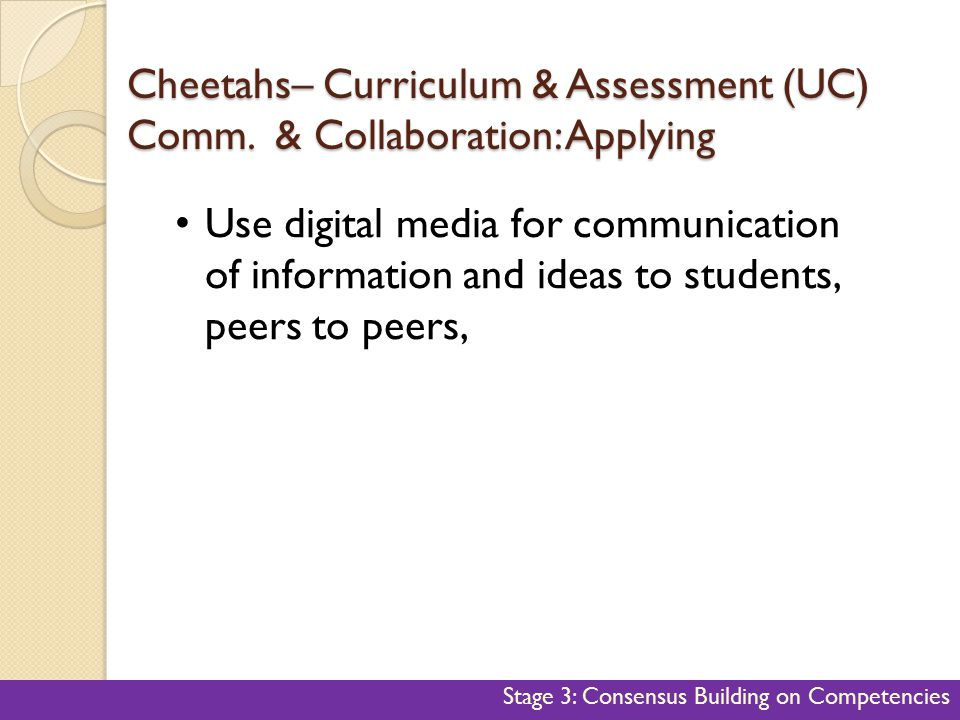 Cheetahs– Curriculum & Assessment (UC) Comm. & Collaboration: Applying 47 Use digital media for communication of information and ideas to students, pe