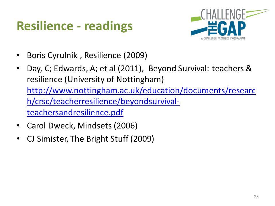 Resilience - readings Boris Cyrulnik, Resilience (2009) Day, C; Edwards, A; et al (2011), Beyond Survival: teachers & resilience (University of Nottingham) http://www.nottingham.ac.uk/education/documents/researc h/crsc/teacherresilience/beyondsurvival- teachersandresilience.pdf http://www.nottingham.ac.uk/education/documents/researc h/crsc/teacherresilience/beyondsurvival- teachersandresilience.pdf Carol Dweck, Mindsets (2006) CJ Simister, The Bright Stuff (2009) 28