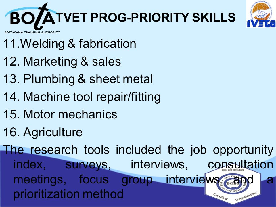 TVET PROG-PRIORITY SKILLS 11.Welding & fabrication 12.