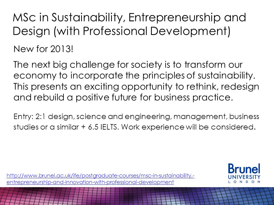 MSc in Sustainability, Entrepreneurship and Design (with Professional Development) New for 2013.