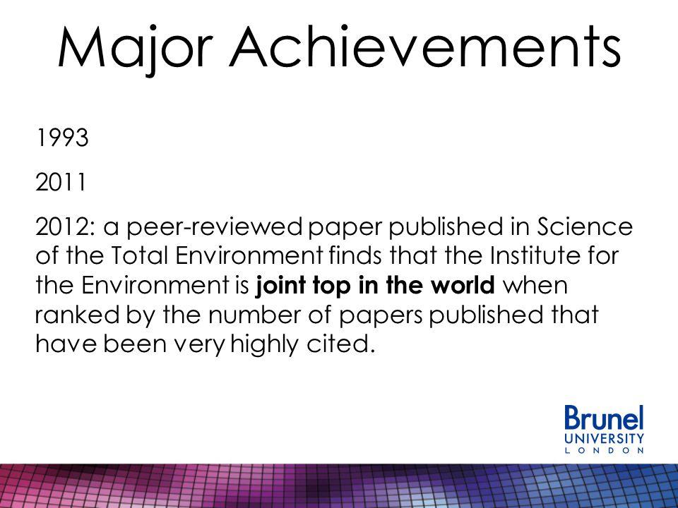 Major Achievements 2013 update… Dr.