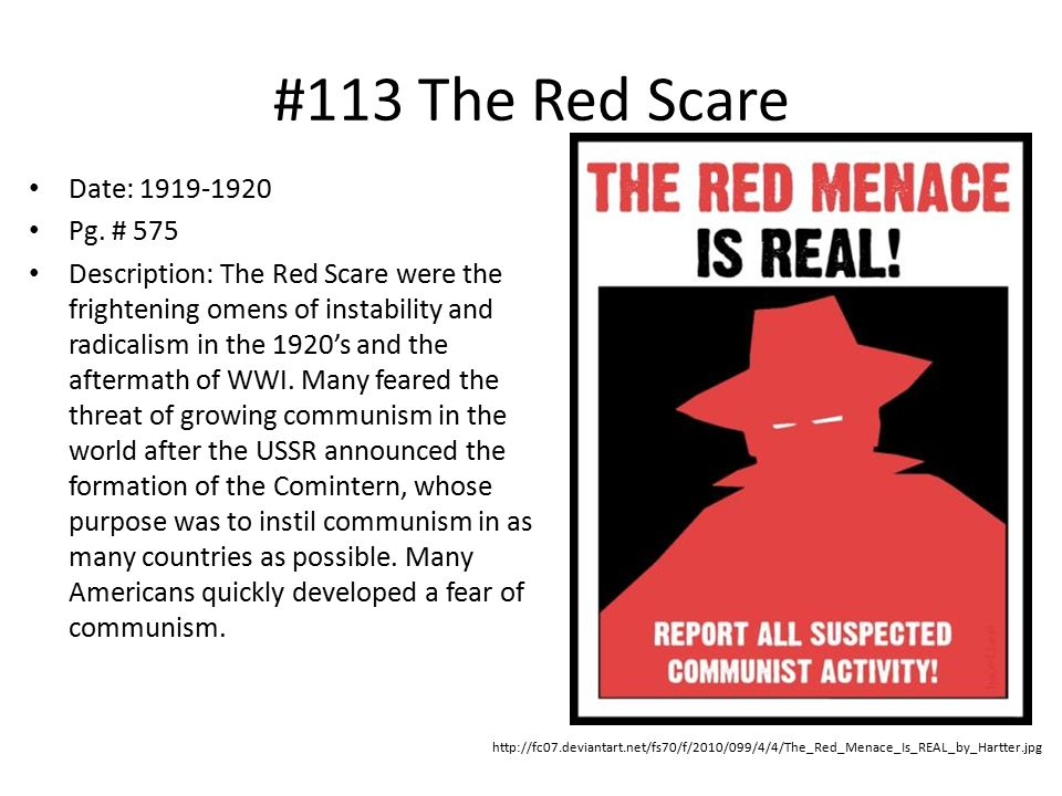 #113 The Red Scare Date: 1919-1920 Pg.
