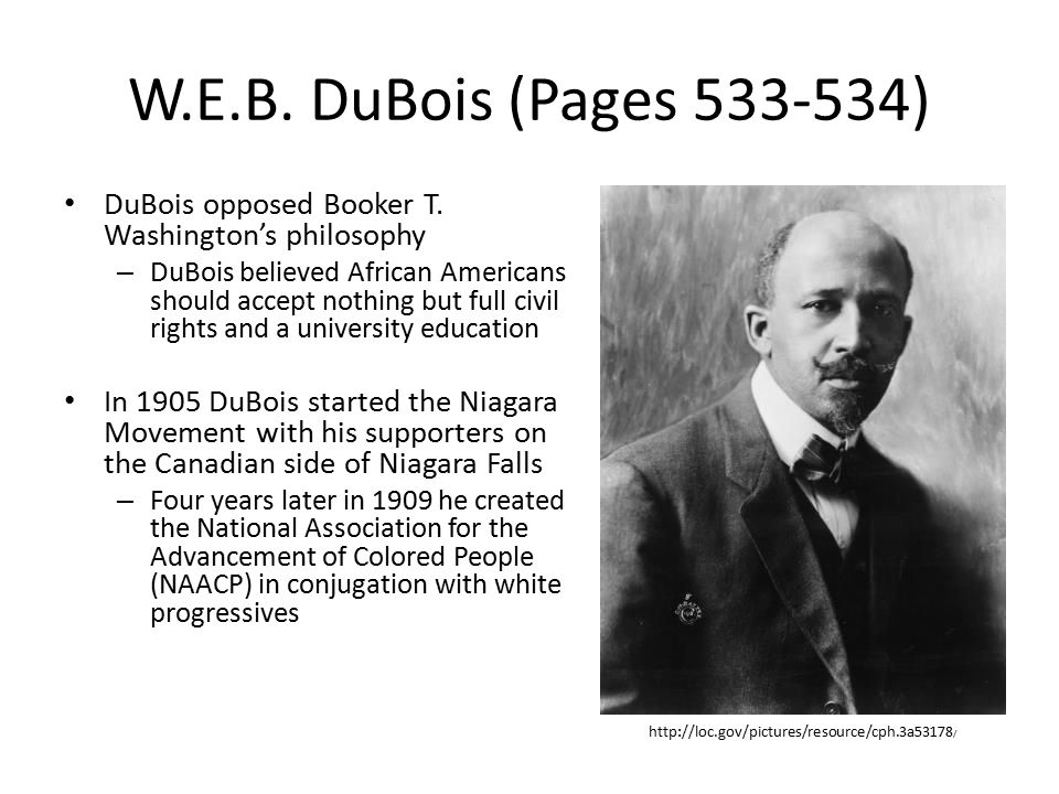 W.E.B.DuBois (Pages 533-534) DuBois opposed Booker T.