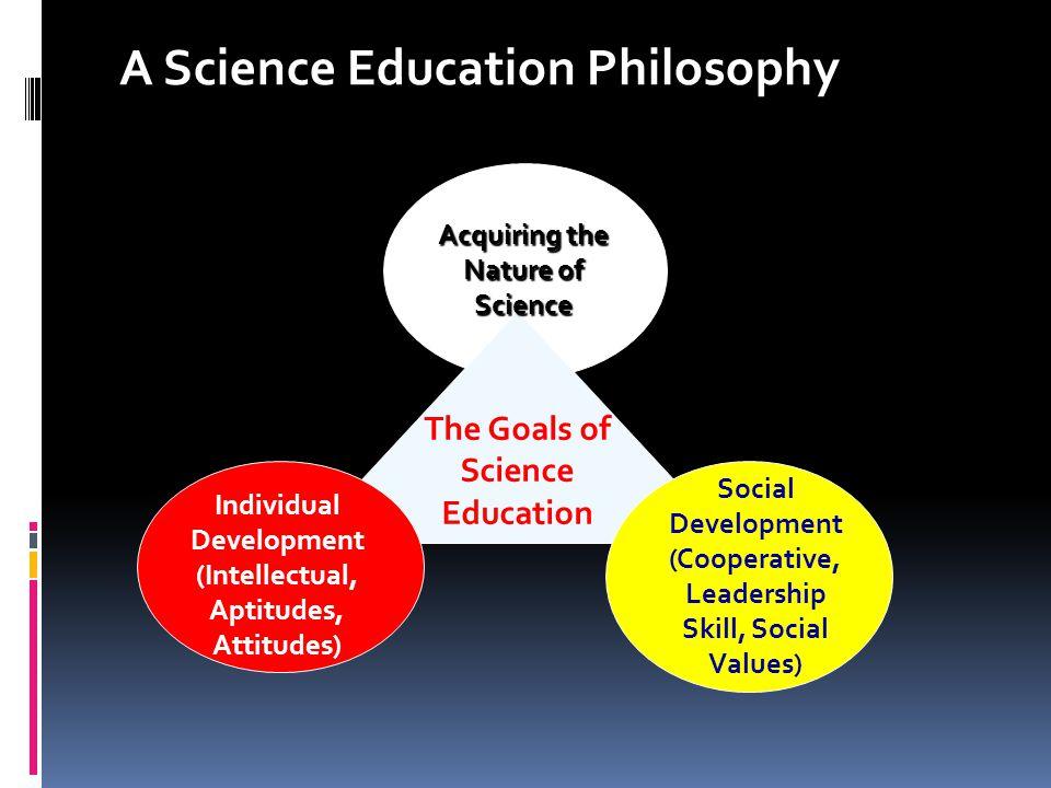 The Goals of Science Education Individual Development (Intellectual, Aptitudes, Attitudes) Social Development (Cooperative, Leadership Skill, Social V