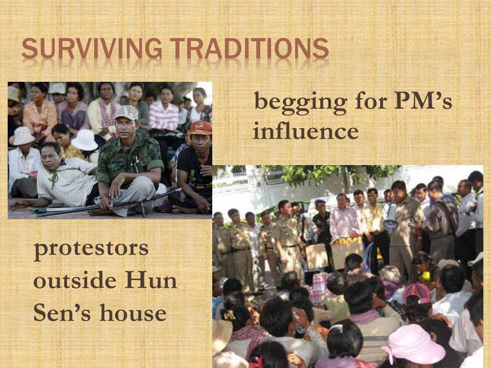 protestors outside Hun Sen's house begging for PM's influence