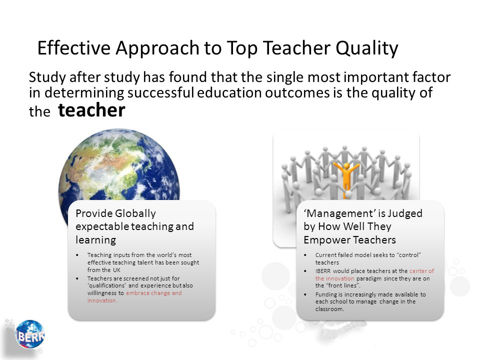 Provide Globally expectable teaching and learning Teaching inputs from the world's most effective teaching talent has been sought from the UK Teachers are screened not just for 'qualifications' and experience but also willingness to embrace change and innovation.