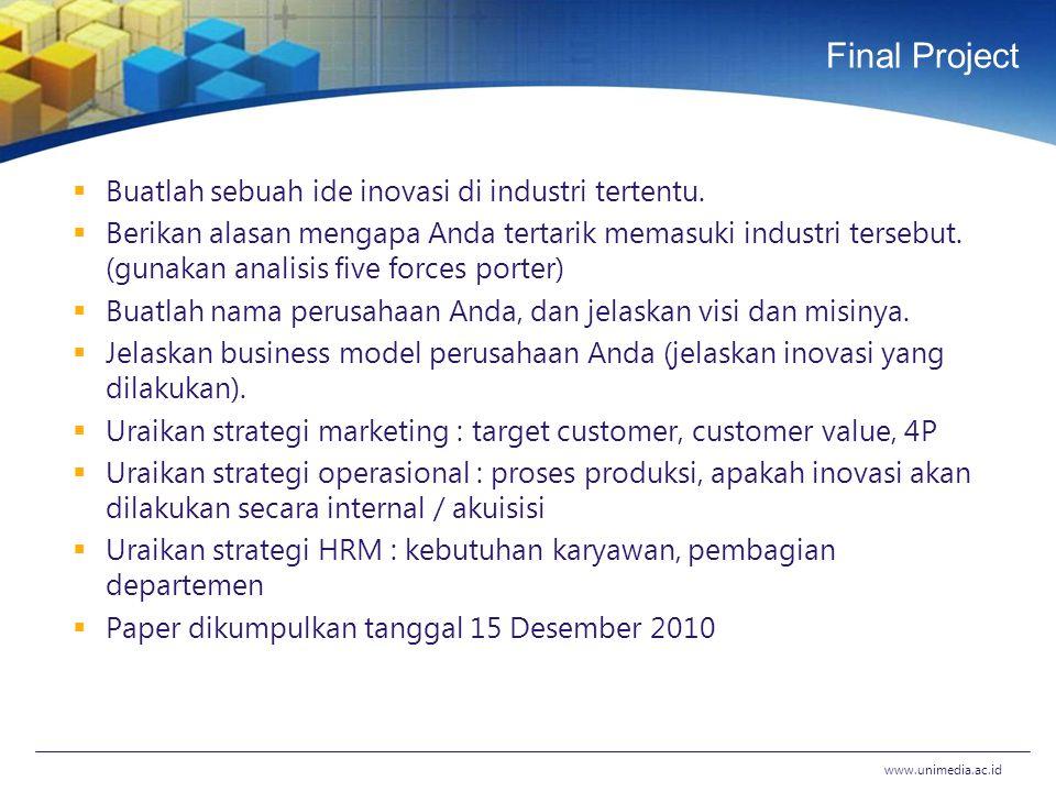 Final Project  Buatlah sebuah ide inovasi di industri tertentu.