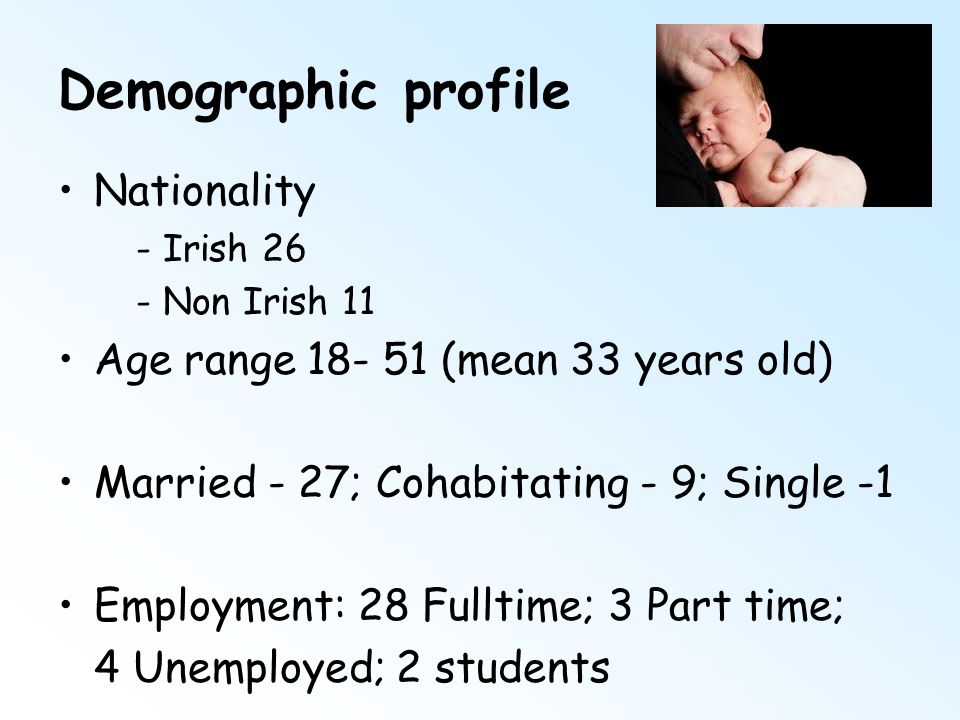 Demographic profile Nationality - Irish 26 - Non Irish 11 Age range 18- 51 (mean 33 years old) Married - 27; Cohabitating - 9; Single -1 Employment: 2