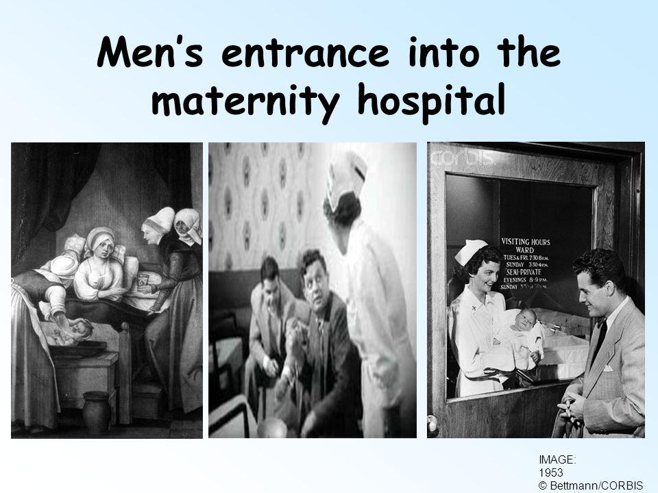 Men's entrance into the maternity hospital IMAGE: 1953 © Bettmann/CORBIS