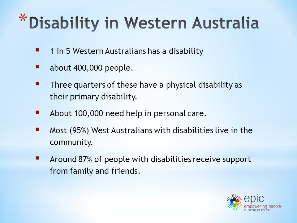  1 in 5 Western Australians has a disability  about 400,000 people.