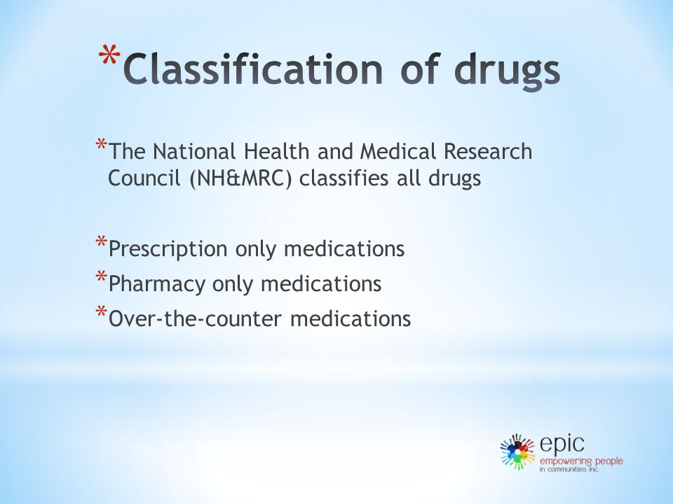 * The National Health and Medical Research Council (NH&MRC) classifies all drugs * Prescription only medications * Pharmacy only medications * Over-the-counter medications